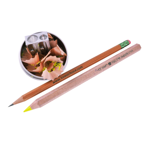 Plastic-Free Metal Pencil Sharpener in Tin with pencils