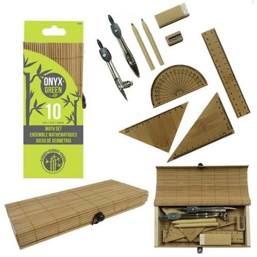 Plastic-Free Bamboo Geometry Set - 10 Pieces