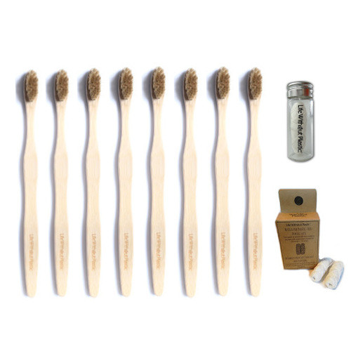 Set of 8 Adult Plastic-Free Toothbrushes and 3 Spools of Natural Floss in a Refillable Jar