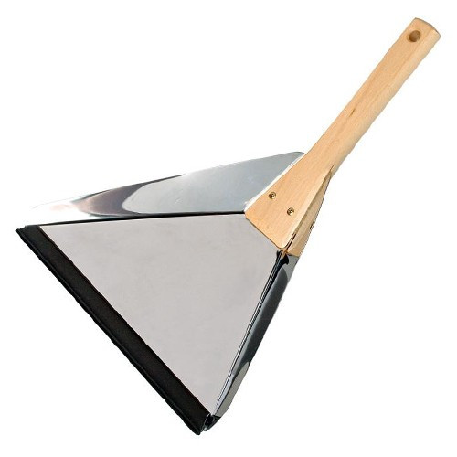 Plastic-Free Stainless Steel Delta Dust Pan with Wooden Handle
