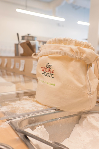 Organic Flat-Bottom Large Double Cotton Bulk Bag for Flour - Large
