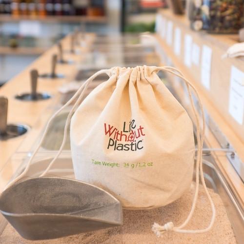 Organic Cotton Flat-Bottom Bulk Bag -  medium - scoop