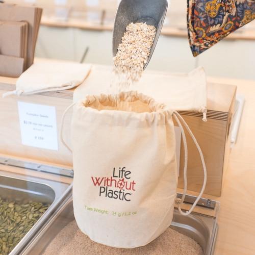 Organic Cotton Flat-Bottom Bulk Bag -  medium - oats