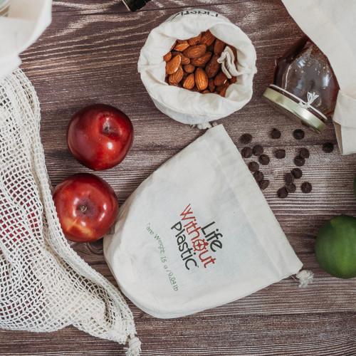 Organic Cotton Flat-Bottom Bulk Bag -  choc chips