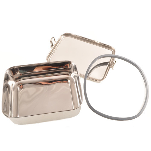 Stainless Steel Rectangular Airtight Sandwich Food Container - 900 ml / 30 oz - disassembled