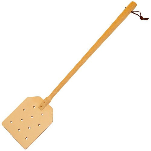 Plastic-Free Leather and Wood Fly Swatter
