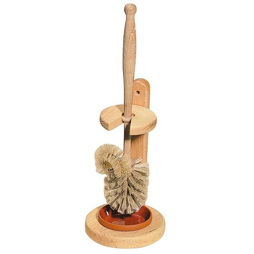 Plastic-Free Wooden Toilet Brush with Edger and Wooden Stand - Medium Bristles