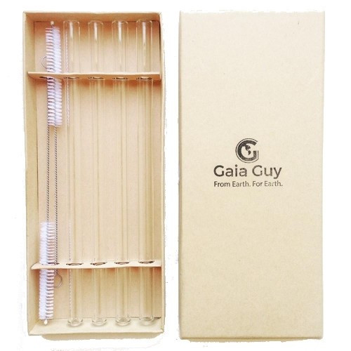 SALE - Set of Four Large Glass Straws With Two Natural Cleaning Brushes