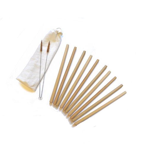 Set of 10 Long Bamboo Straws With 2 Cleaning Brushes and a Cotton Pouch