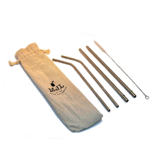 Set of Four Stainless Steel Straws with a Cleaner and Cotton Carrying Case - Two Bent and Two Straight