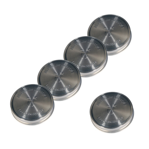 Stainless Steel Lids for Regular Mouth Mason Jars - 5 Pack