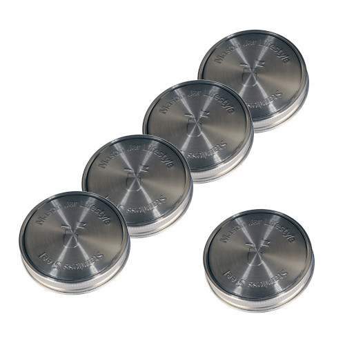 Stainless Steel Lids for Mason Jars - Wide Mouth 5 Pack