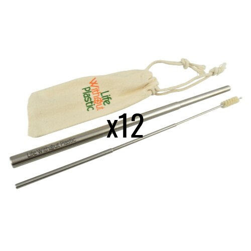 Case of 12 - Telescopic Stainless Steel Straw and Cleaner with Natural Bristles in a Cotton Carrying Pouch