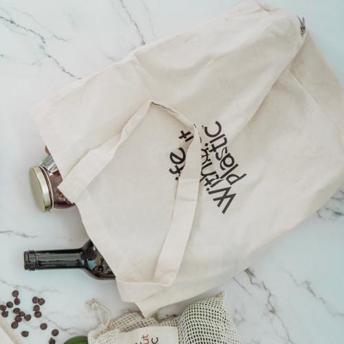 Organic Cotton Flat-Bottom Compact Shopping Bag - wine