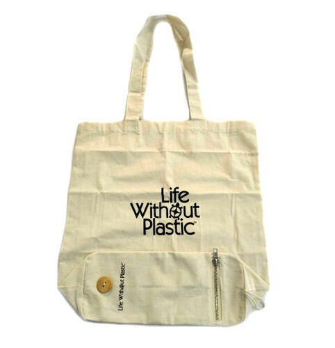 Organic Cotton Flat-Bottom Compact Portable Shopping Bag -  Open
