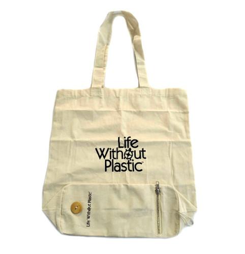 Organic Cotton Flat-Bottom Compact Portable Shopping Bag -  Open