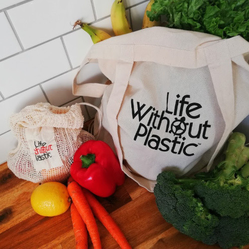 Organic Cotton Flat-Bottom Compact Portable Shopping Bag - Context