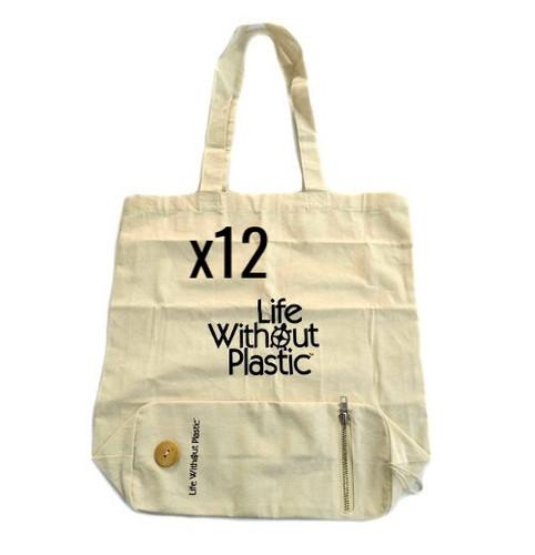 Case of 12 - Organic Cotton Flat-Bottom Compact Portable Shopping Bag - Wood Button Closure