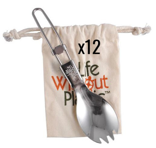 Folding Spork Made of Stainless Steel With Carrying Pouch made of Certified Organic Cotton