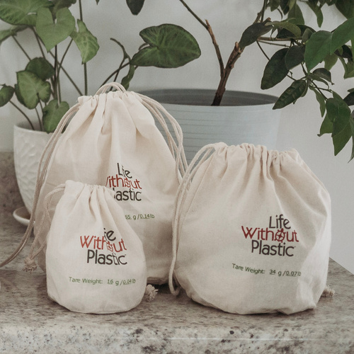 Organic Cotton Flat-Bottom Bulk Bag -  Three sizes context