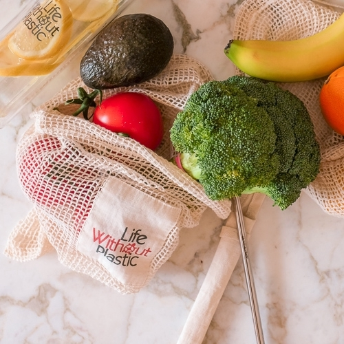 Organic Cotton Mesh Produce Bag - Medium brocolli