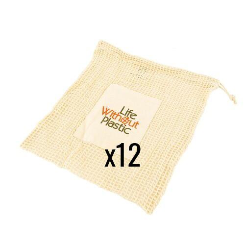 Case of 12 - Organic Cotton Mesh Produce Bag - Medium