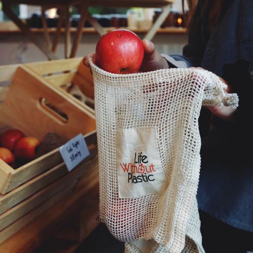 Organic Cotton Mesh Produce Bag - apples