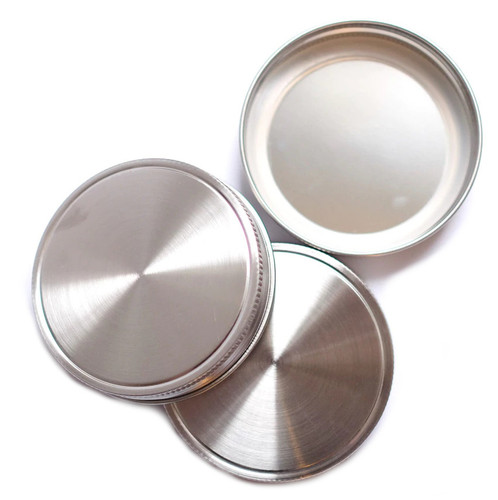 Stainless Steel Mason Jar Lids - Wide - Pack of Three