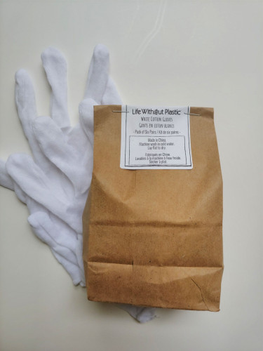 Plastic-free Cotton Gloves - Pack of 6 Pairs - Medium