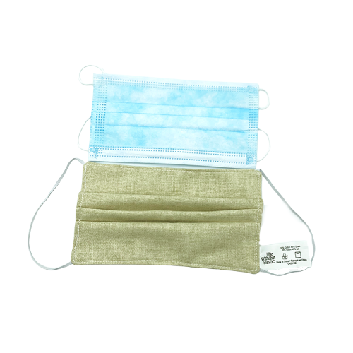 Cotton linen face mask - comparing to blue disposable mask
