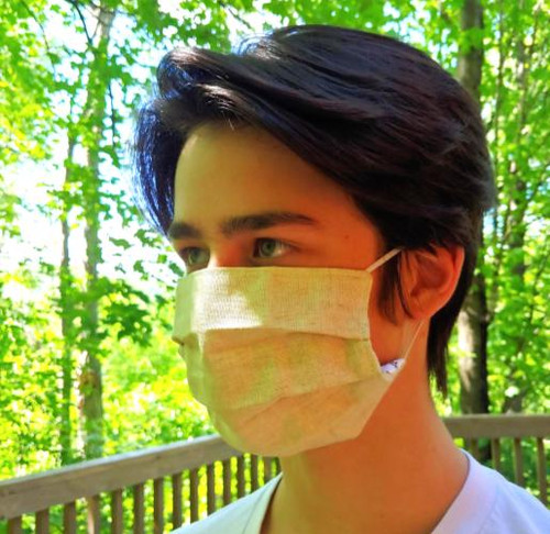 Cotton linen face mask without plastic worn by JPS