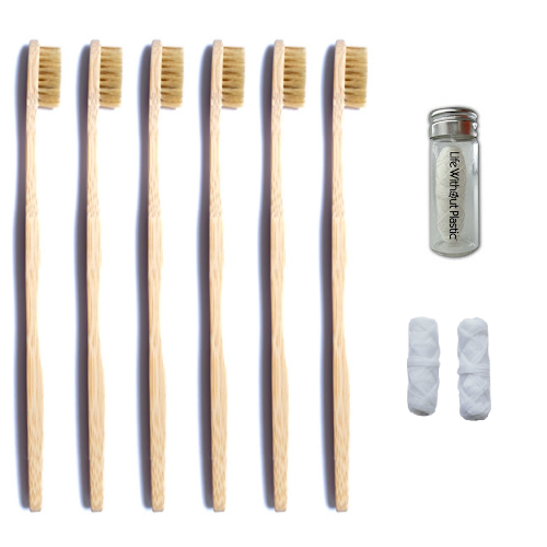 Boar Hair and Bamboo Toothbrush Kit with Mulberry Silk Floss - All Natural and Compostable