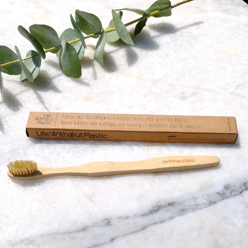 Boar Hair and Bamboo Toothbrush and packaging
