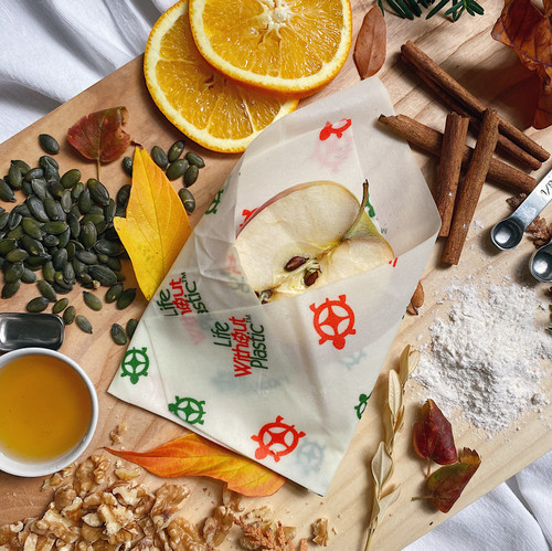 Plastic-Free Cotton and Beeswax Food Wraps - Pack of Three