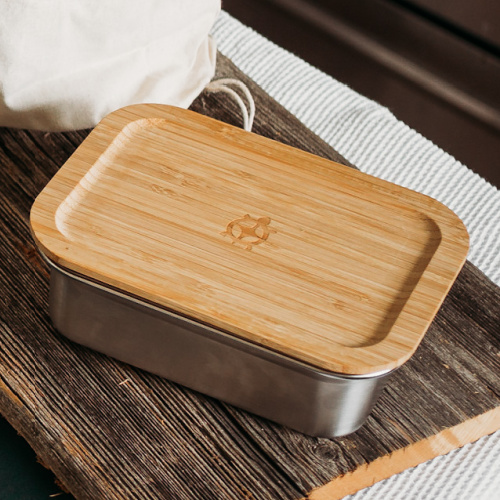 Stainless Steel Rectangular Airtight Food Storage Container with Bamboo Lid- 1200 ml / 40 oz