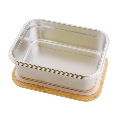 Stainless Steel Rectangular Airtight Food Storage Container with Bamboo Lid- 1200 ml / 40 oz open