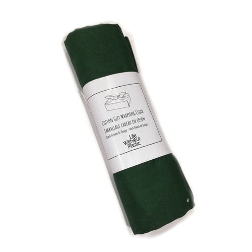 Reusable Cotton Gift Wrapping Cloth - Green & Beige  rolled in packaging