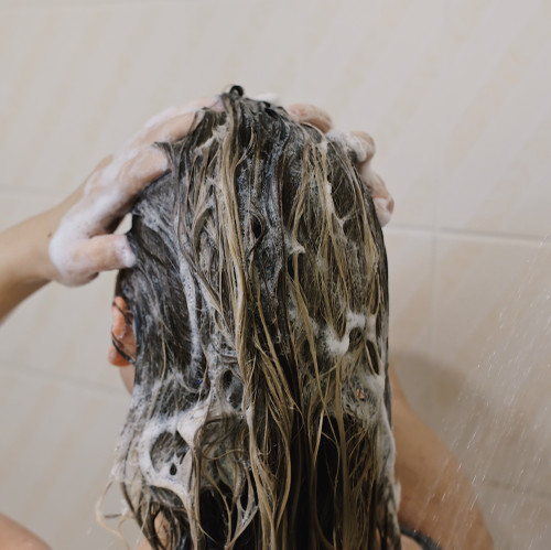 Solid Shampoo Bar - context in hair