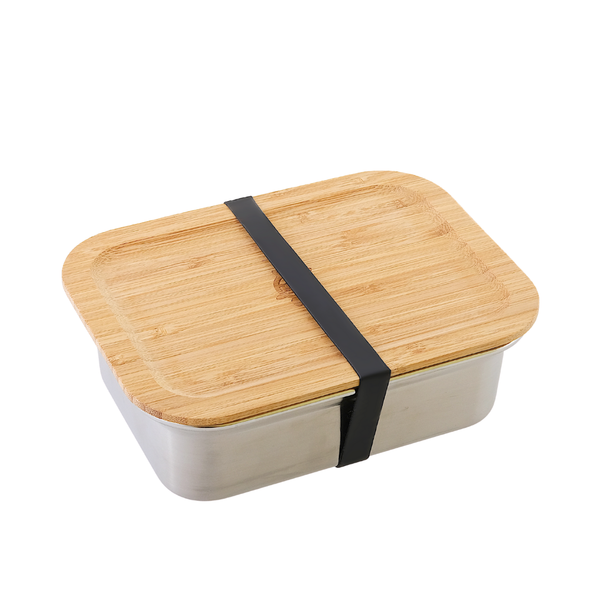 Stainless Steel Rectangular Airtight Food Storage Container with Bamboo Lid- 1200 ml / 40 oz lid and band