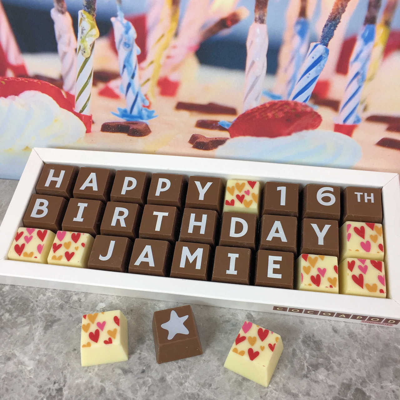 Personalised 16th Birthday Chocolate Box With Name