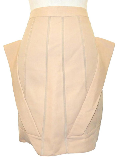HAKAAN Silk Beige Structured Mini Skirt Sz 6