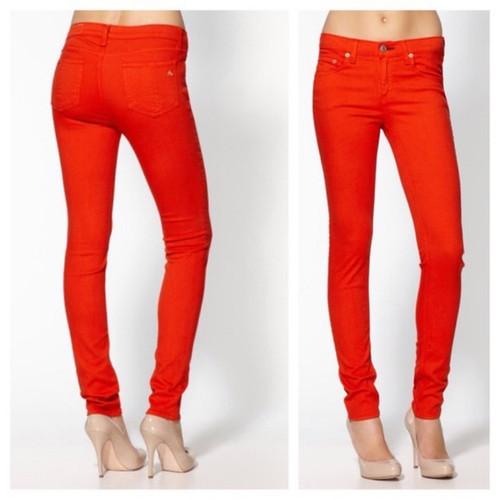 Rag & Bone Jean Reddish Orange PFD Skinny Jeans Sz 26