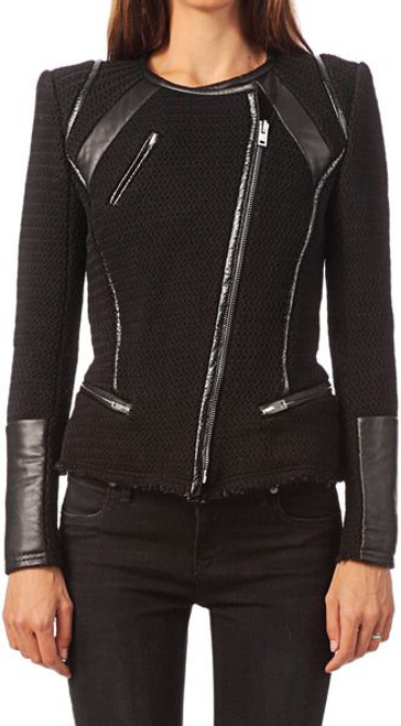 Iro 'Rysley' Asymmetrical Leather Trim Jacket Sz Fr 36 (US 4)
