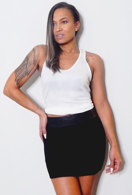 Alice + Olivia Black Leather Banded Mini Skirt Sz S