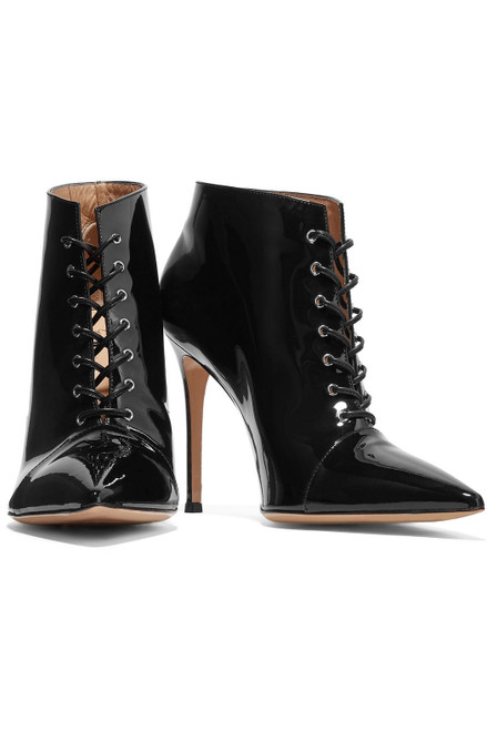 Gianvito Rossi Black Patent Leather Lace-Up Ankle Boots Sz 38.5 (US 8) BRAND NEW