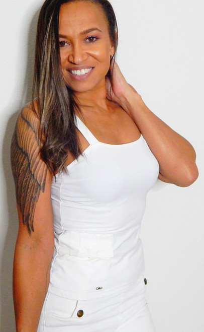 Chloe Stretchy Tank w/Pleated Pocket Sz XS