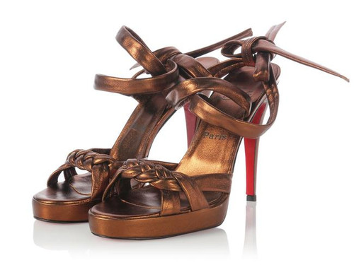 Christian Louboutin Bronze Braided Ankle Wrap Sandals Sz 38.5 (US 8)