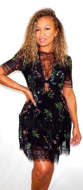 Nicholas Black Lace-Paneled Floral-Print Silk-Chiffon Mini Dress Sz 2