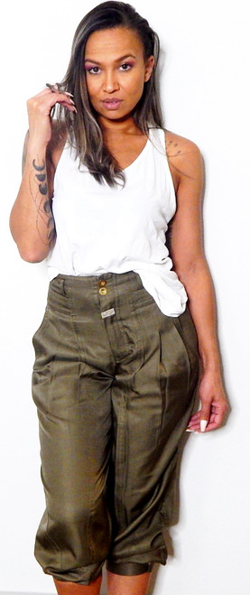 Marc by Marc Jacobs Green High Waist Pleated Cargo Pants Sz 0