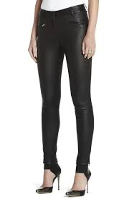 BCBG 'Gayl' Leather Legging w/Ankle Zipper Sz S